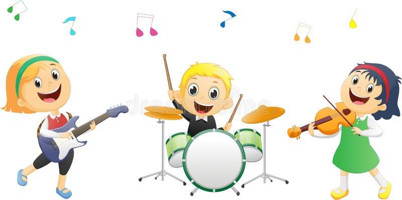 弹奏乐器的孩子的例证 向量例证