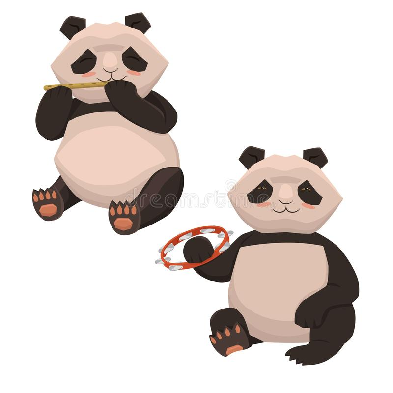 弹奏乐器的设置两只逗人喜爱的熊猫 在白色背景的孤立 o 库存例证