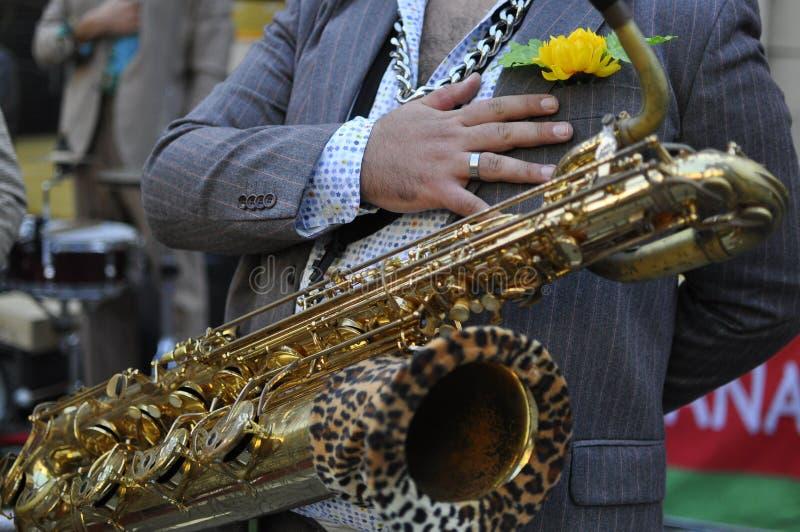 弹奏铜管乐器的一位传统巴尔干音乐家的特写镜头 库存照片