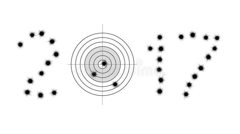 弹孔和目标在形状2017年 库存照片