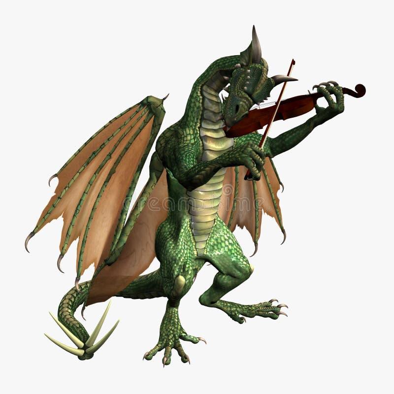 弹小提琴的龙 库存例证