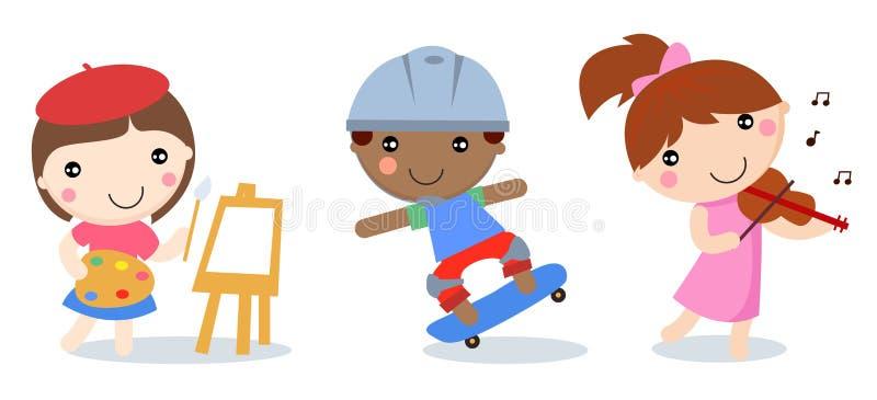 弹小提琴的三个孩子,绘画,滑板男孩和女孩图片