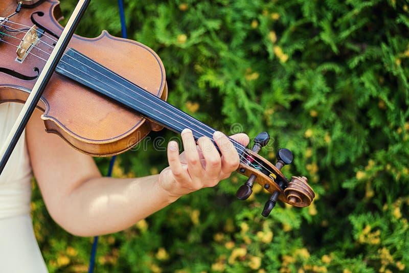 弹小提琴,美丽的少妇的妇女弹小提琴,美国兵 免版税库存照片