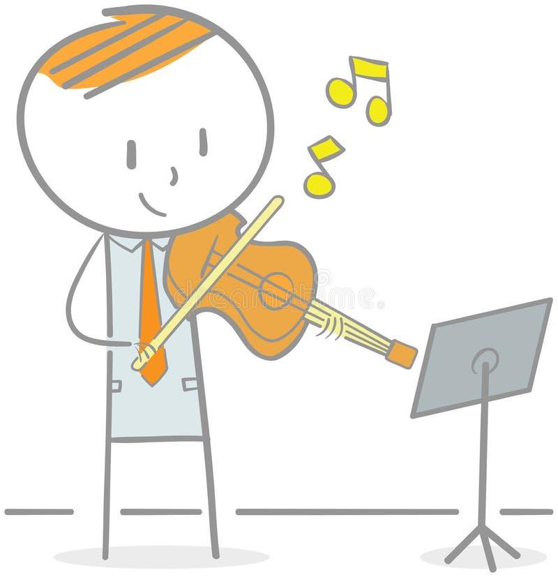 弹小提琴 向量例证