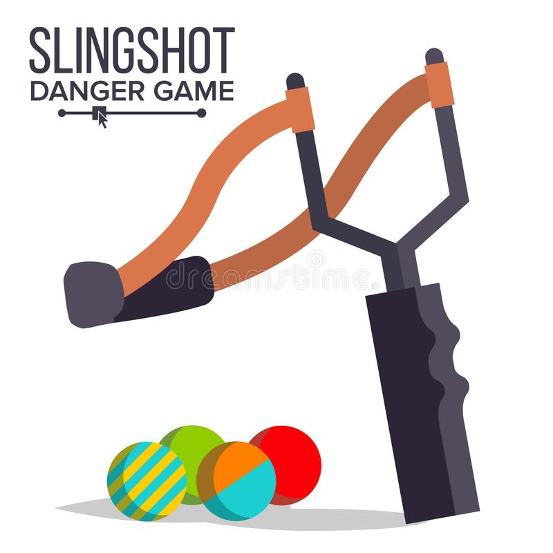 弹弓传染媒介 动画片弹弓象 迷彩漆弹运动,儿童比赛 有弹性危险玩具 按钮查出的现有量例证推进s启动妇女 向量例证