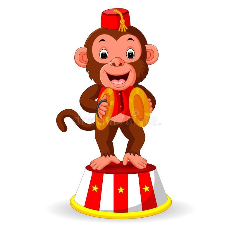 弹撞击声手铙钹的逗人喜爱的猴子 皇族释放例证