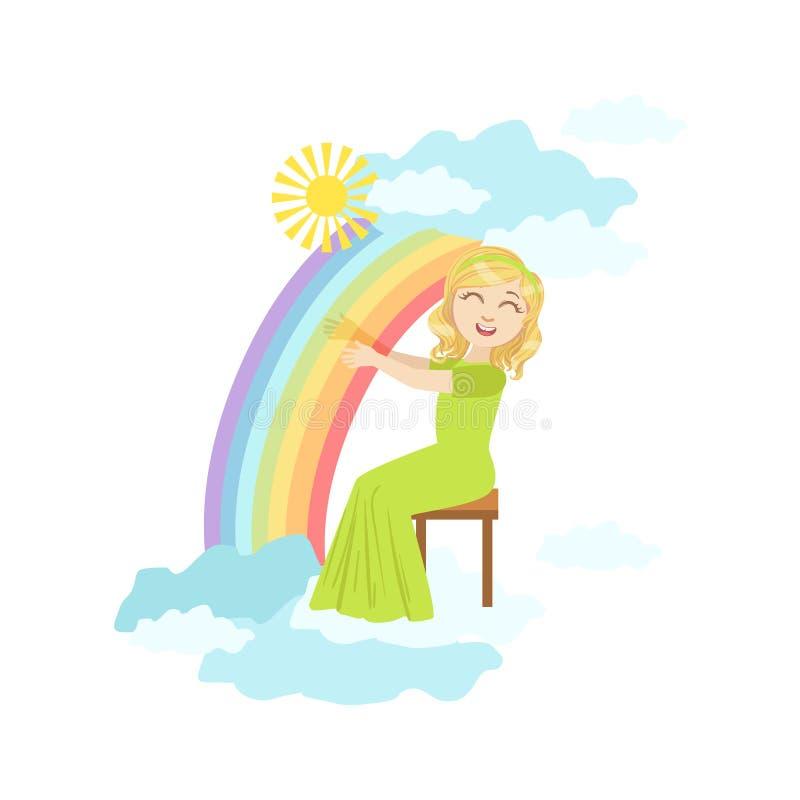弹有彩虹和云彩装饰的女孩竖琴 向量例证