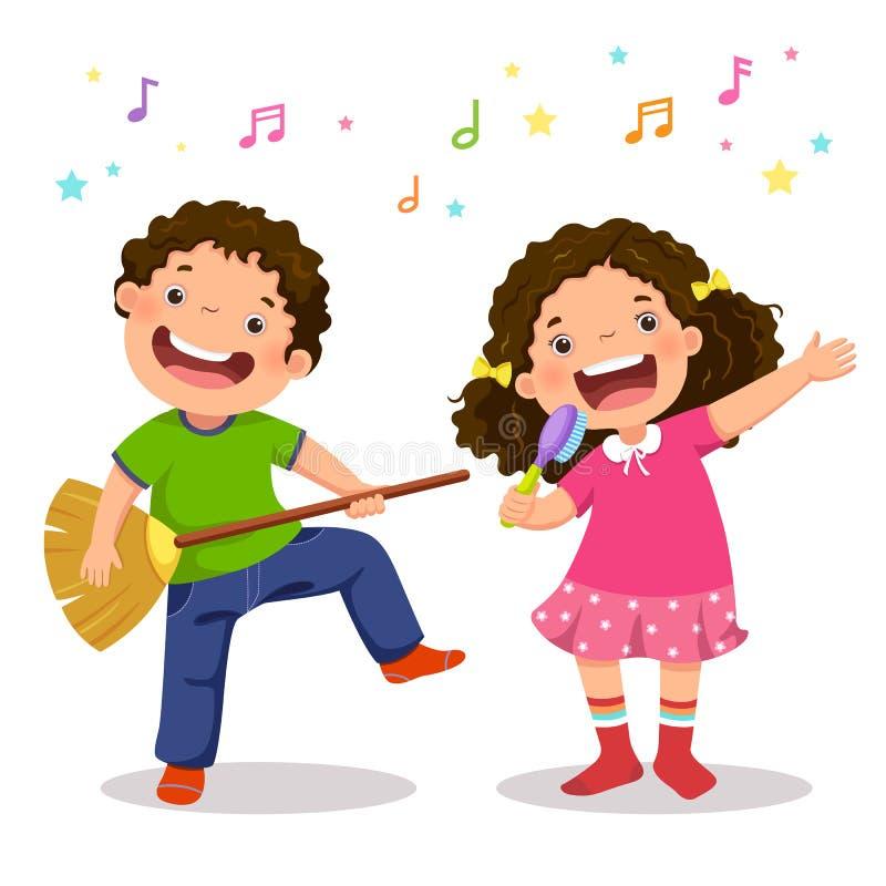 弹有笤帚和女孩唱歌的创造性的男孩真正吉他 向量例证