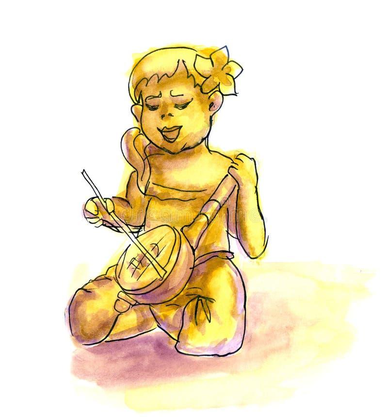 弹班卓琵琶的滑稽的动画片女孩 库存例证