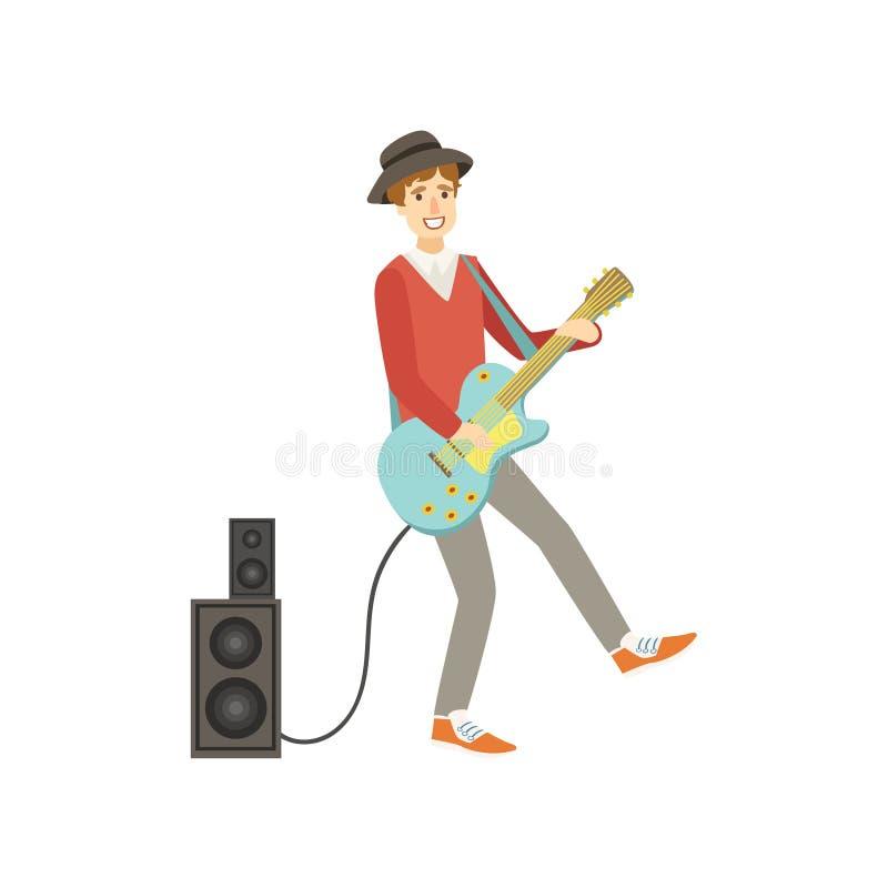 弹电镀吉他,创新者例证的人 皇族释放例证