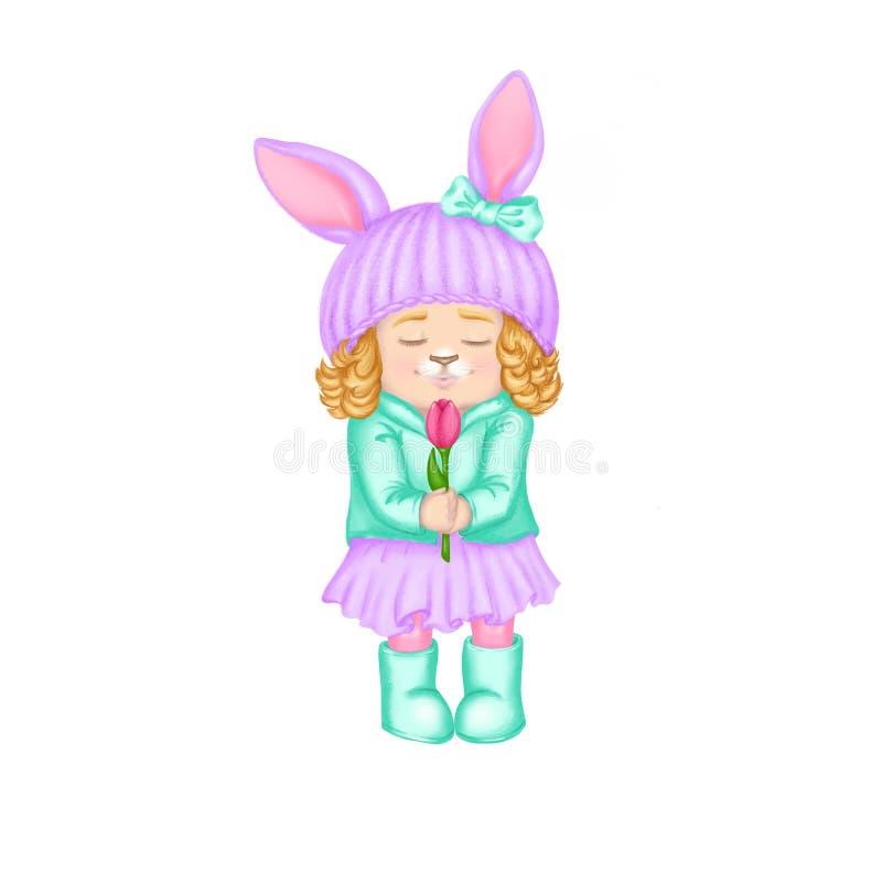 弹簧夹艺术帽子有耳朵和卷发的象兔宝宝或兔子的动画片女孩春天贺卡的,季节性电视节目预告横幅 库存例证