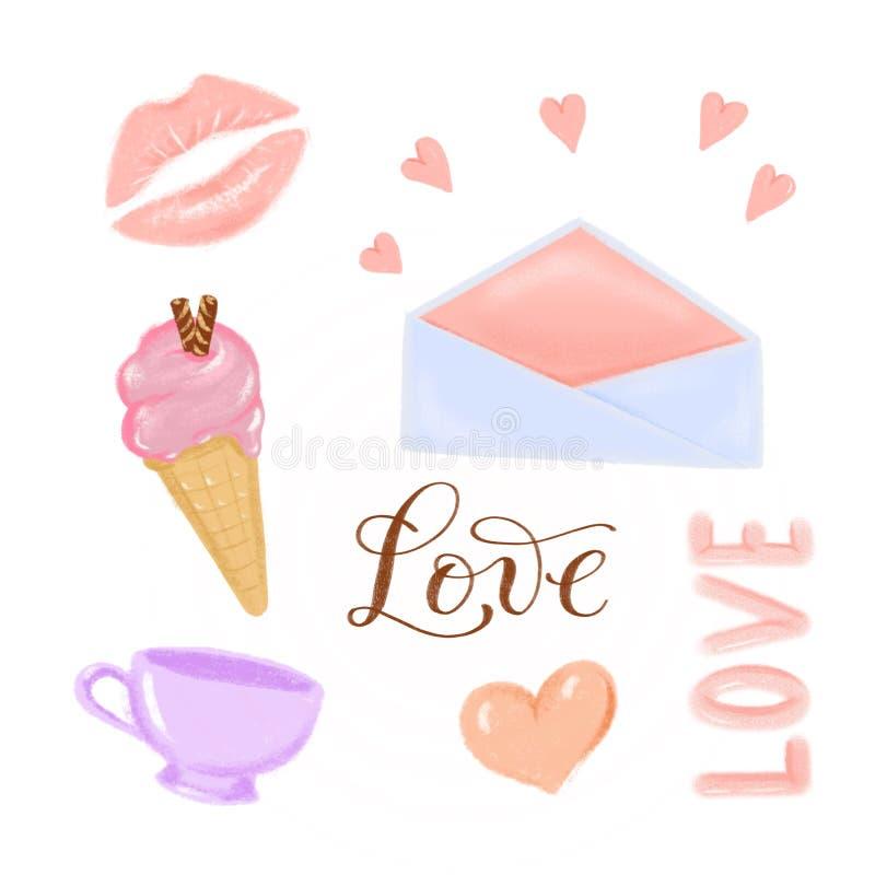 弹簧夹艺术-情人节手拉的织地不很细例证-嘴唇,冰淇淋,杯子,心脏,信封和在上写字爱fo 免版税库存照片