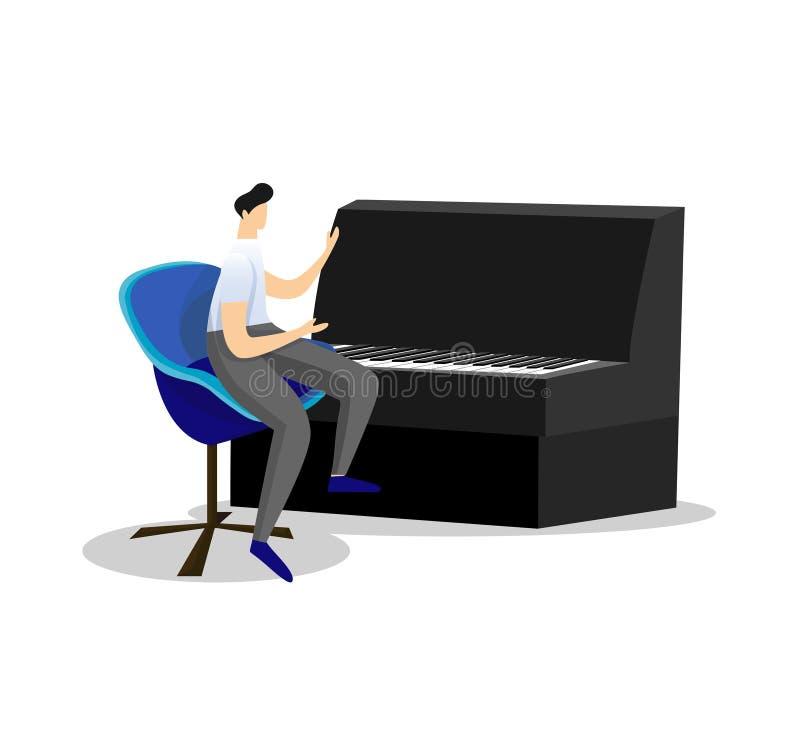 弹经典键盘仪器钢琴的音乐家 皇族释放例证
