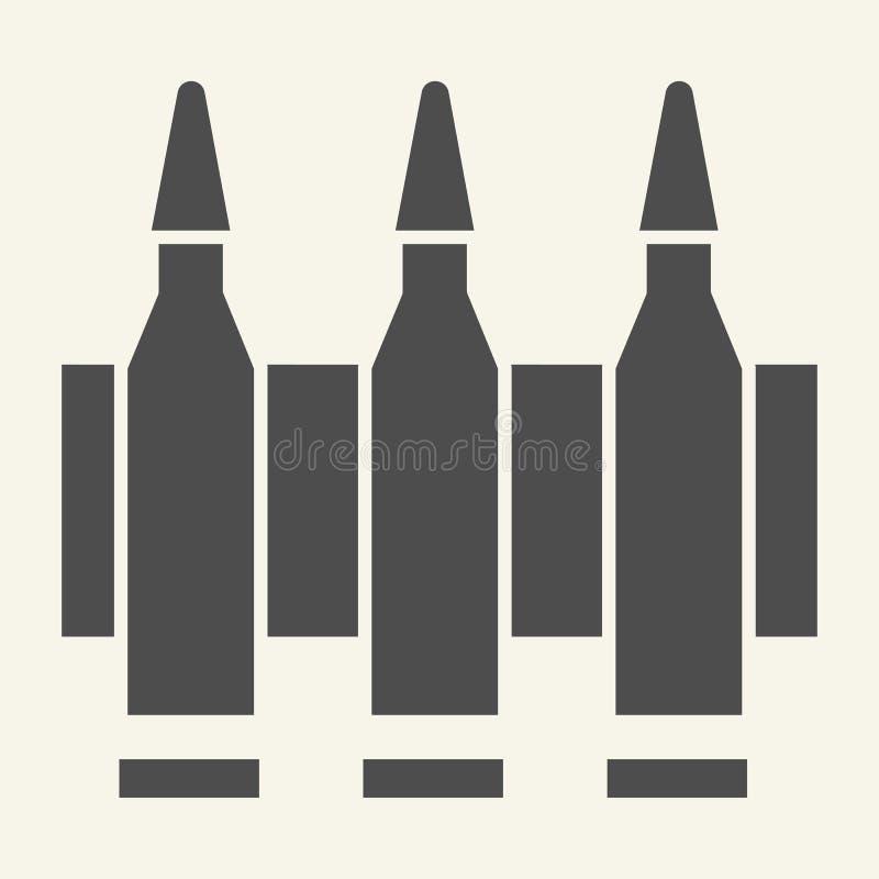 弹药坚实象 子弹在白色隔绝的传染媒介例证 弹药筒纵的沟纹样式设计,设计为网和 向量例证