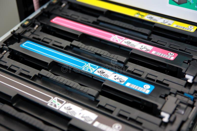 弹药筒颜色激光多功能打印机 库存照片