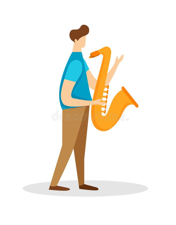 弹萨克斯管的音乐家男性角色 独奏者 皇族释放例证