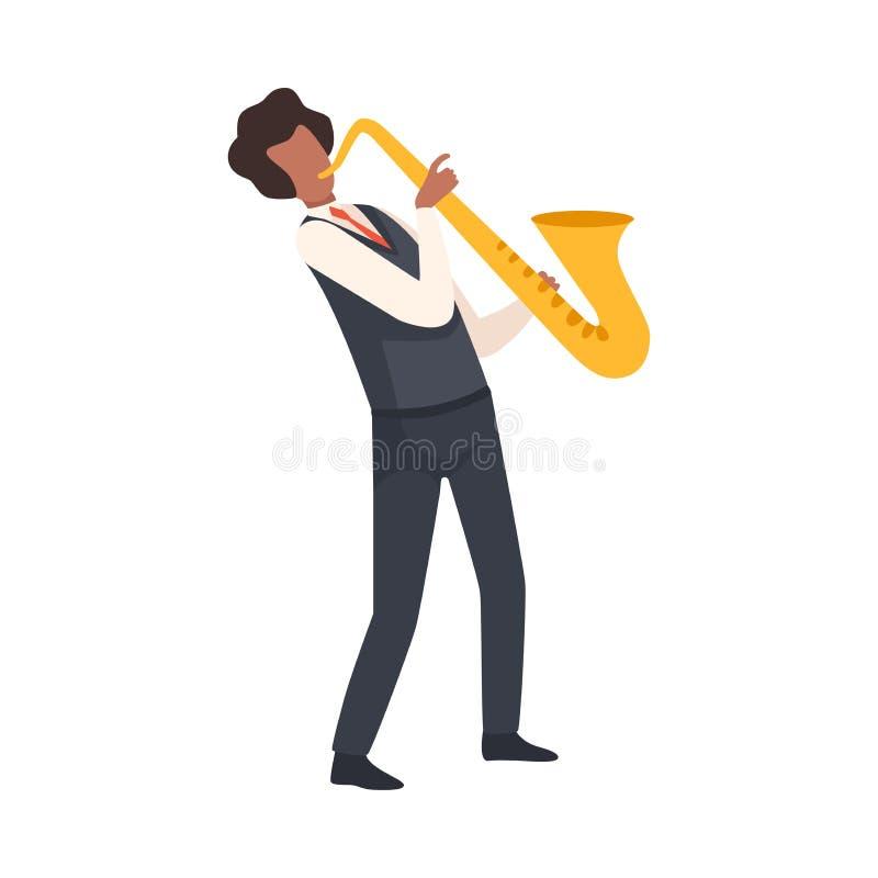 弹萨克斯管,在典雅的衣裳的男性爵士乐音乐家字符的人有乐器传染媒介例证的 向量例证