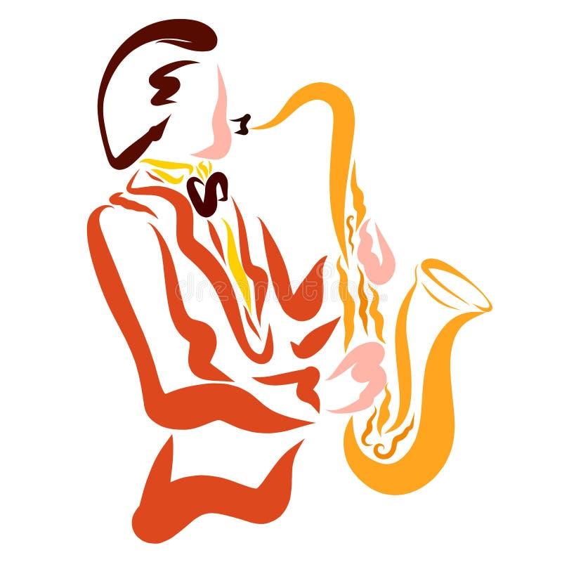 弹萨克斯管,美好的音乐的时髦的人 向量例证