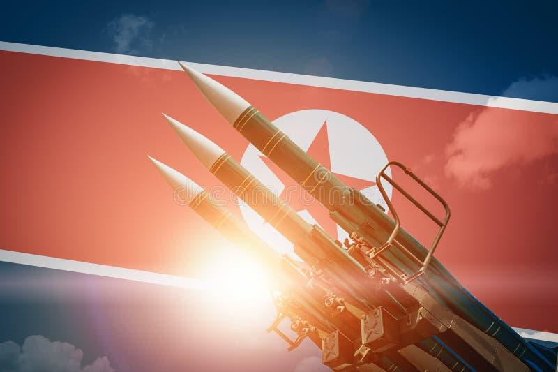 弹道导弹或火箭在北朝鲜旗子背景 大规模杀伤性武器核战争概念和威胁  库存例证