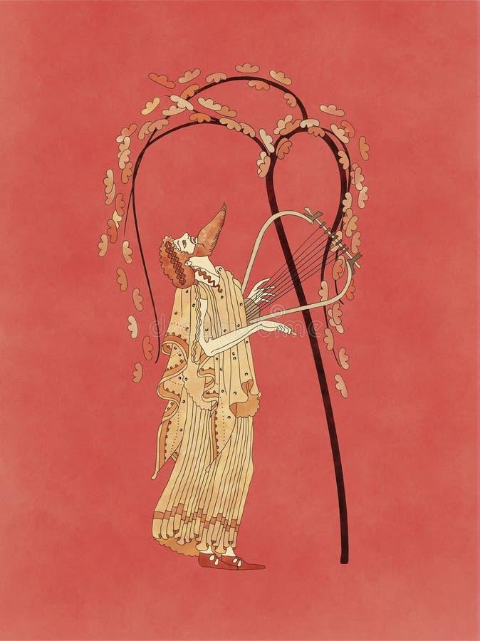 弹里拉琴的Dionysus在葡萄树下 向量例证