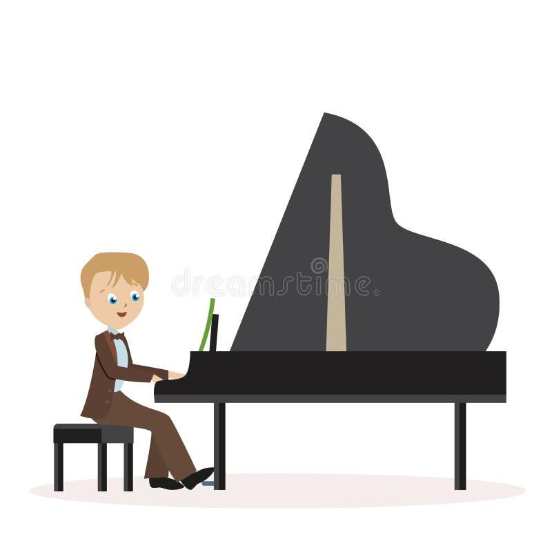 弹钢琴的一套经典衣服的小男孩 在白色背景隔绝的平的字符 传染媒介,例证EPS10 皇族释放例证