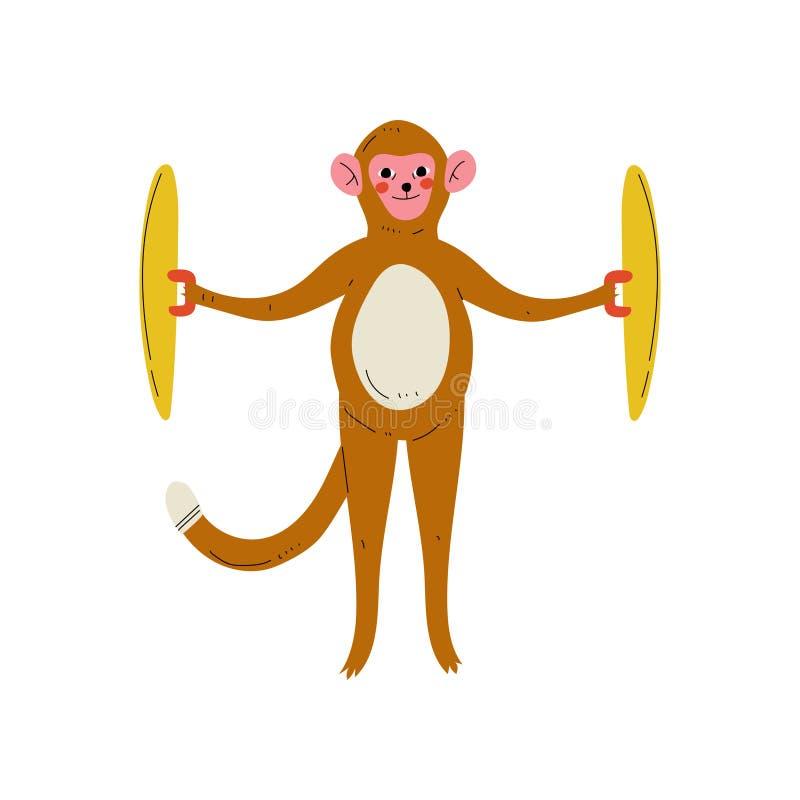 弹铙钹,逗人喜爱的动画片动物音乐家字符的猴子演奏乐器传染媒介例证 皇族释放例证