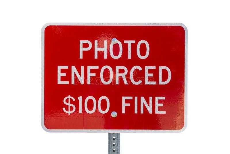 强制了执行停车牌警告被隔绝的照片 免版税库存图片