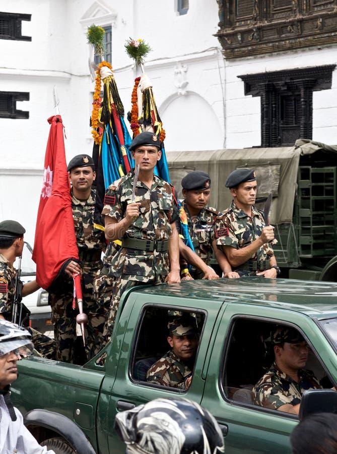 强制军事尼泊尔特殊 免版税库存照片