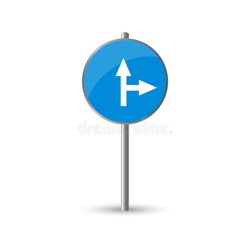 强制向前或向右转交通 向量例证