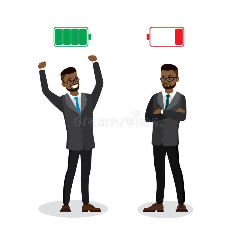强和疲乏的商人,绿色被充电的和红色被释放的电池,隔绝在白色背景 向量例证