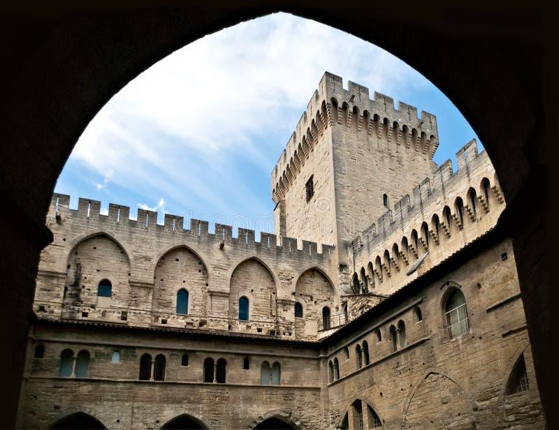 强大教皇Palace,阿维尼翁,法国 免版税库存图片