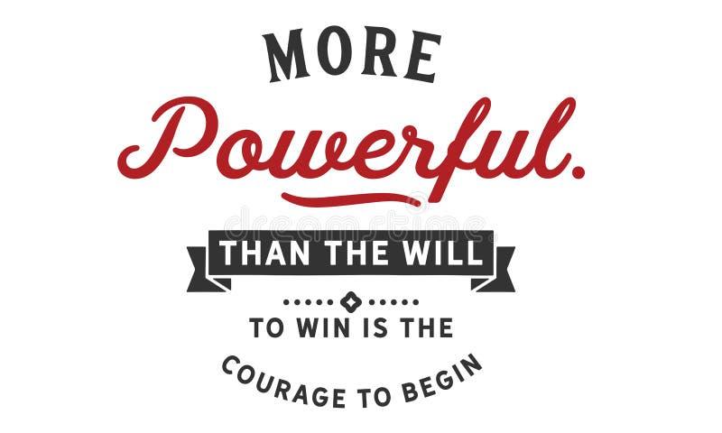 强有力比意志赢取是勇气开始 皇族释放例证
