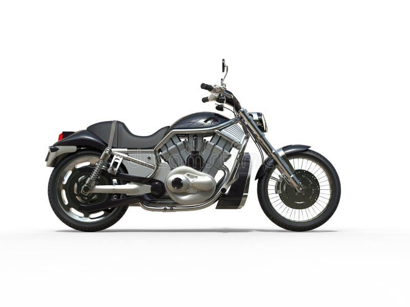黑强有力的摩托车-侧视图 免版税库存照片