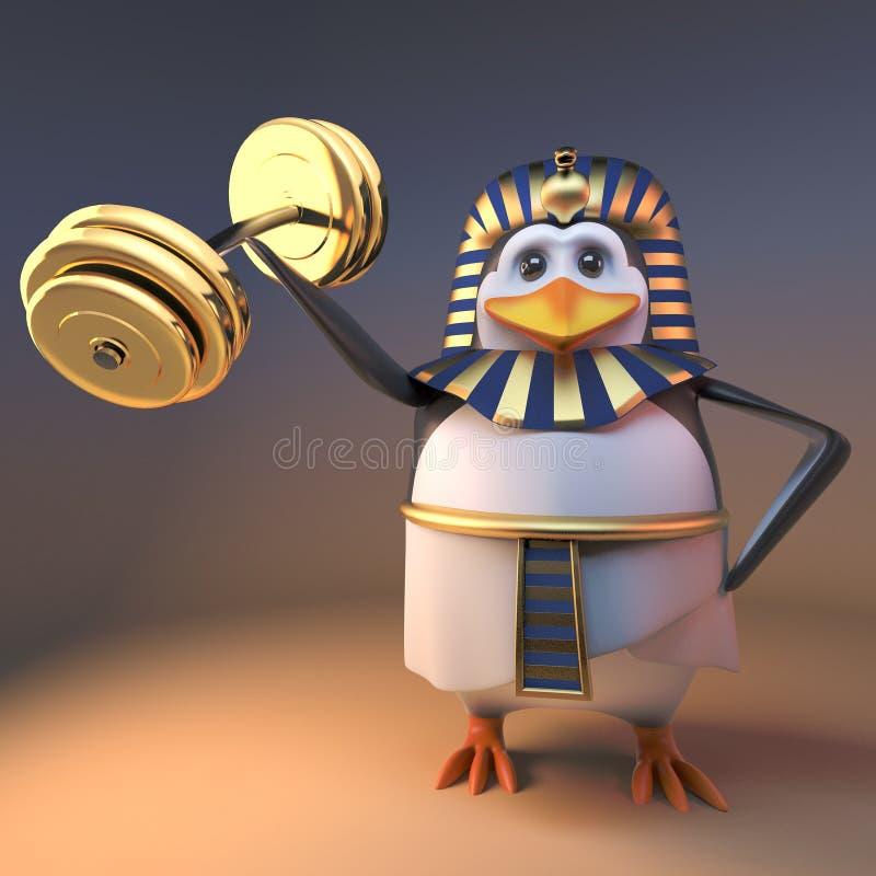 强有力的法老王企鹅Tutankhamun容易地练习举重,3d例证 向量例证