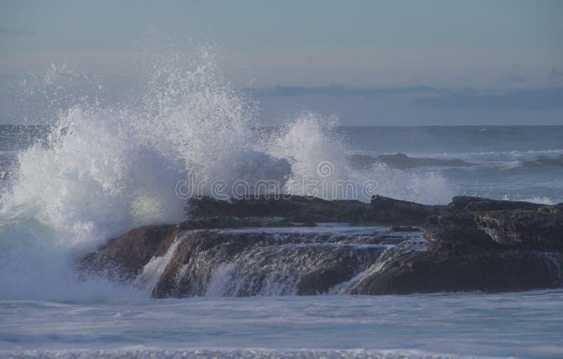强有力的海浪打破在岩石露头在Windansea,拉霍亚加利福尼亚 免版税库存图片