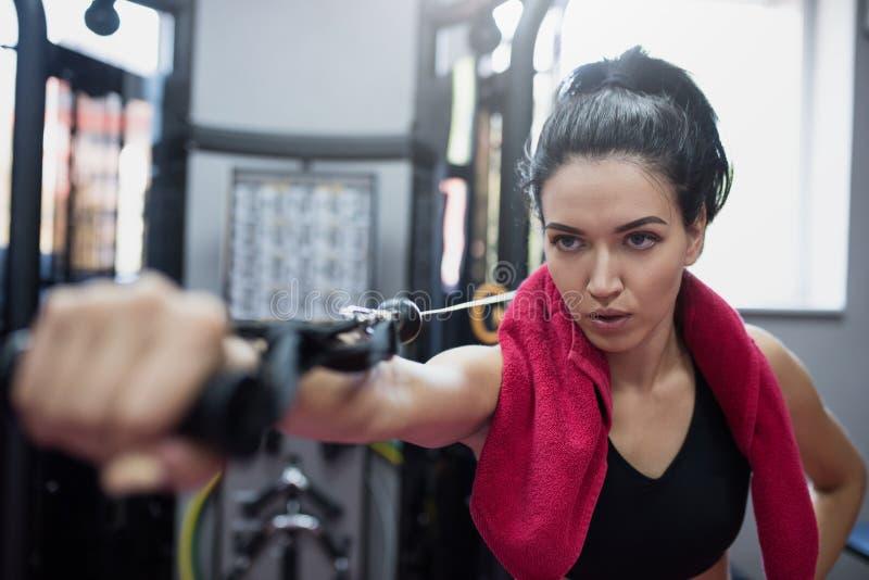 强有力的白种人严肃的深色的妇女水平的射击做着在健身房的锻炼 行使与杠铃的运动的妇女 库存图片