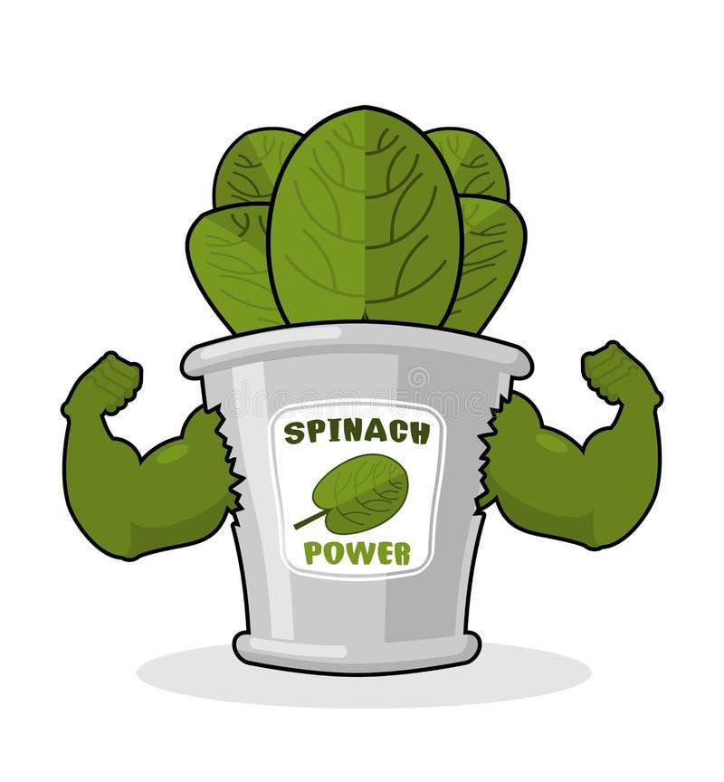 强有力的菠菜强和 银行菠菜的肌肉胳膊 Hea 皇族释放例证