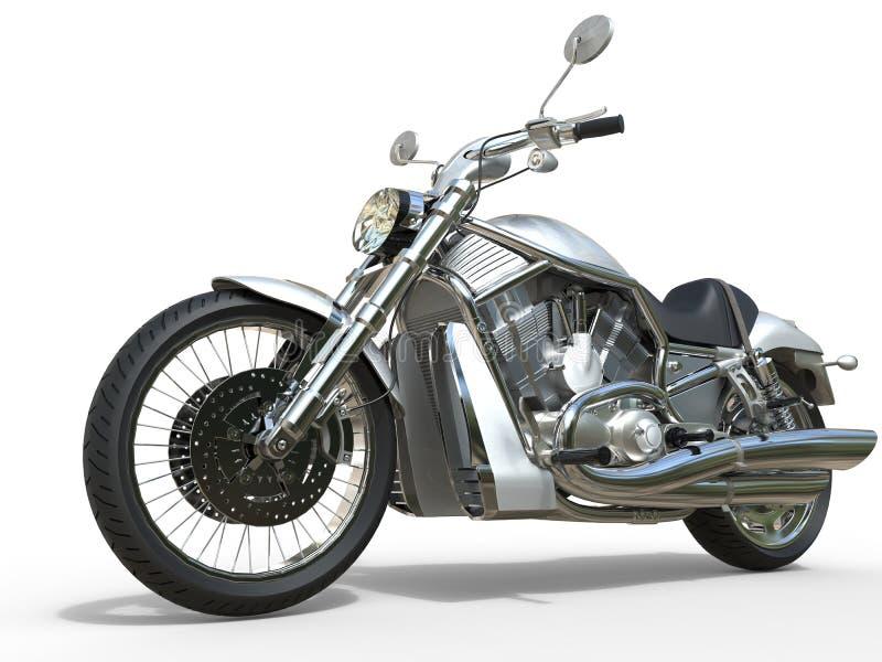 强有力的葡萄酒摩托车-白色 免版税库存图片