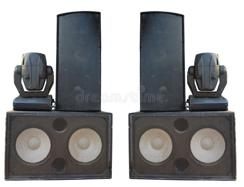 强有力的阶段协奏曲音频报告人和聚光灯放映机 免版税库存照片