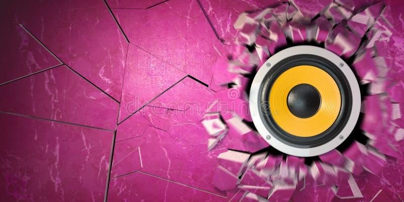 强有力的音频报告人打破了混凝土墙 向量例证