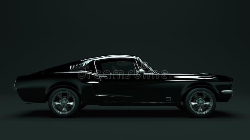 强有力的黑肌肉汽车 皇族释放例证