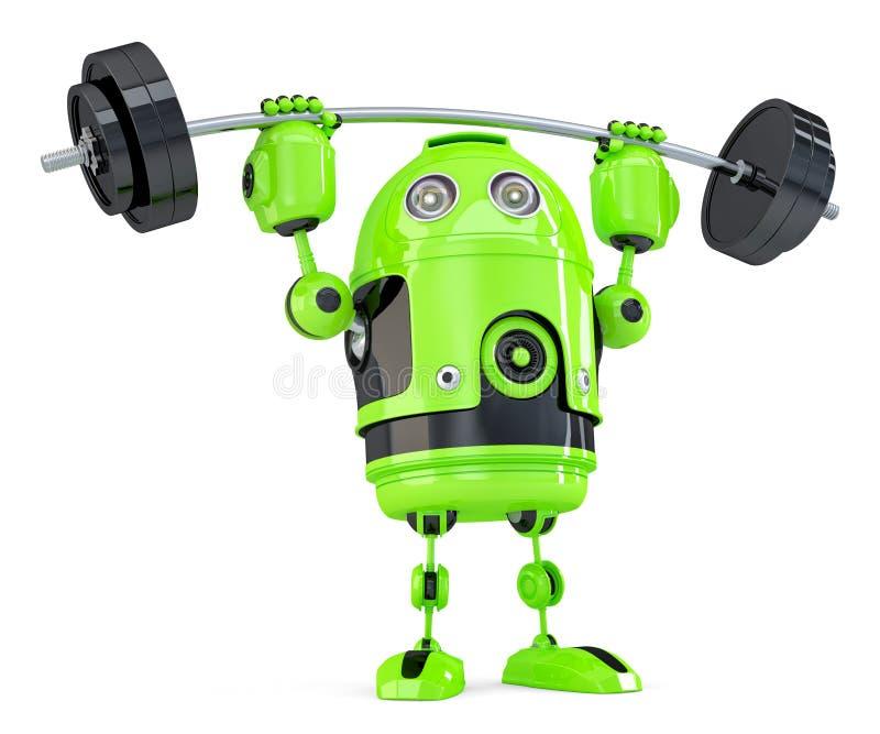 强有力的绿色机器人 概念查出的技术白色 查出 包含裁减路线 向量例证