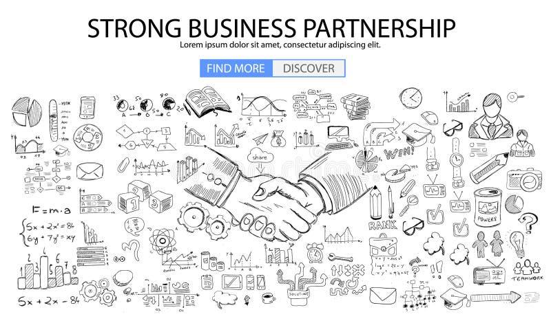 强的企业合作概念wih乱画设计样式 向量例证