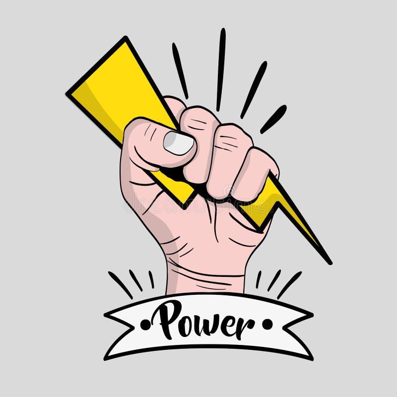 强的力量手抗议革命 库存例证