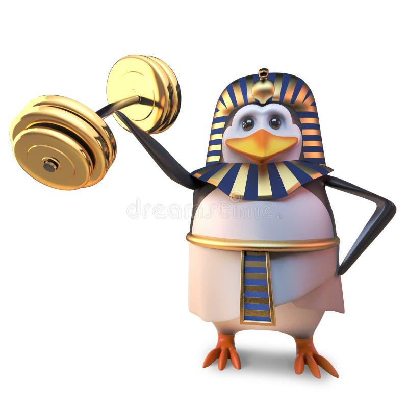 强的埃及法老王企鹅Tutankhamun练习与他小的翼,3d的一些大量的举重例证 皇族释放例证