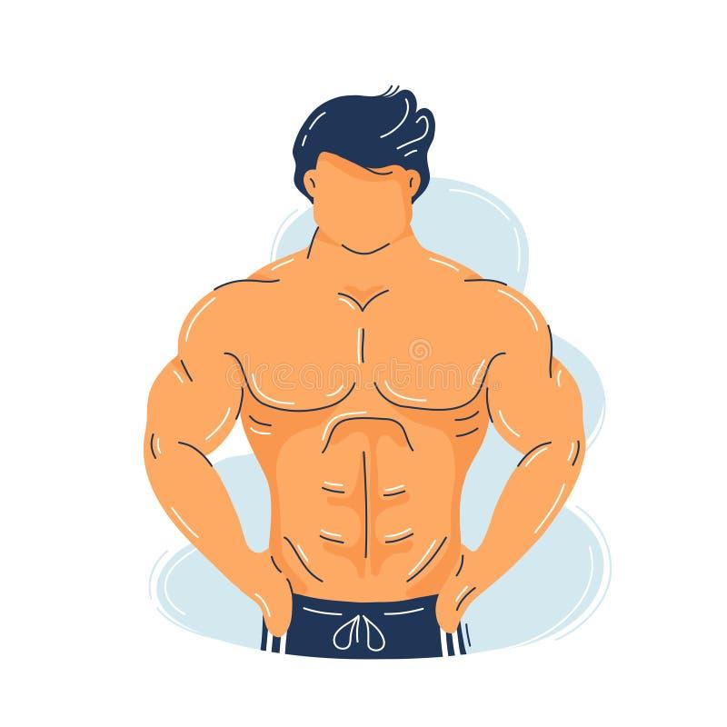 强的有完善的身体的健身肌肉人 皇族释放例证