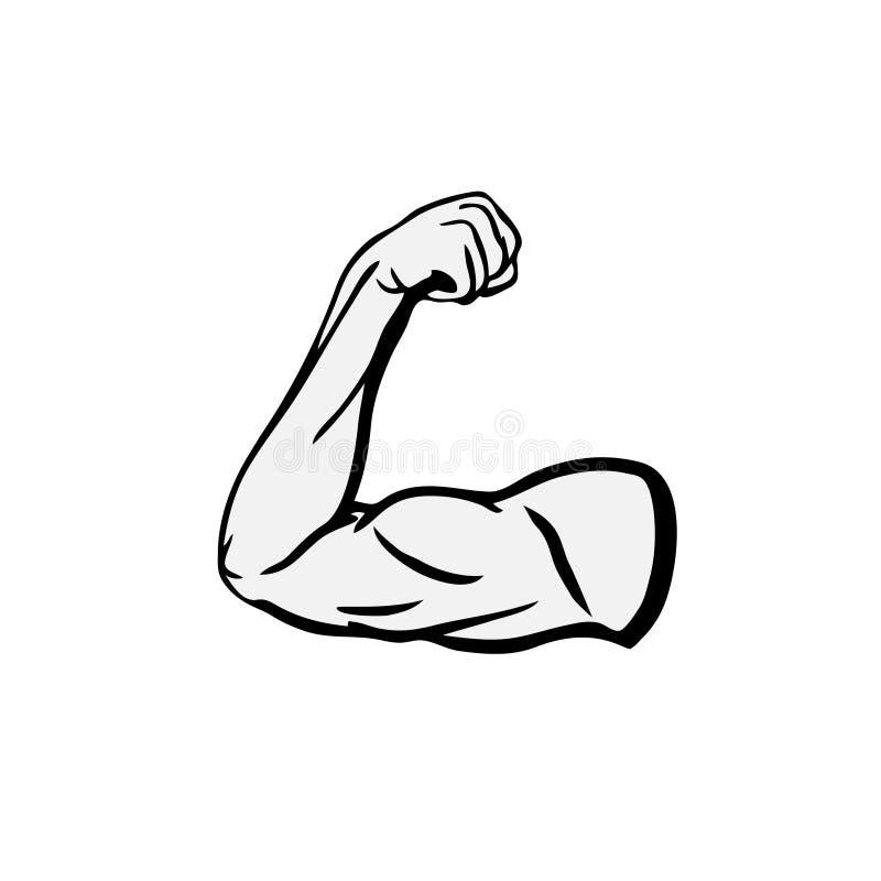 强的爱好健美者二头肌导电线胳膊传染媒介象 库存例证