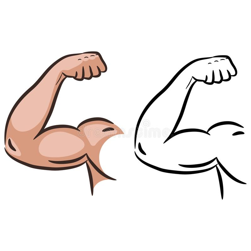 强的肌肉胳膊剪影线传染媒介 库存例证