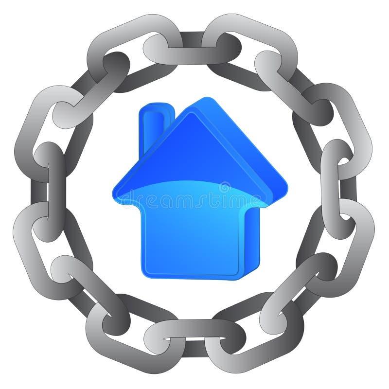 强的钢圈子链子的蓝色房子  向量例证