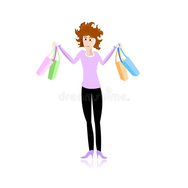 强调的女孩购物 库存例证